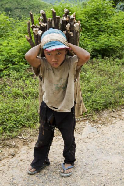 Ein Kinderarbeiter in Laos schleppt HolzEin Kinderarbeiter in Laos schleppt Holz |  Bild: Il bambino trasporta la legna da ardere, Laos © Digitalpress [Royalty Free]  - DreamstimeEin Kinderarbeiter in Laos schleppt Holz