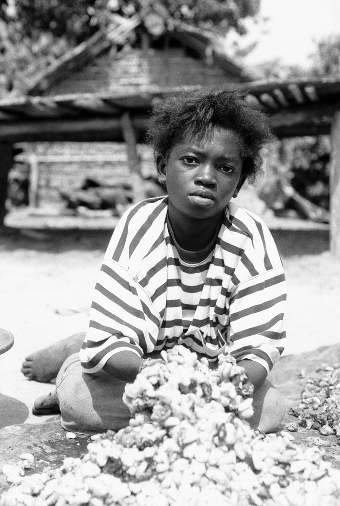 Young girl mixing cocoa beans. Young girl mixing cocoa beans. | Bild (Ausschnitt): © Romano [CC BY-NC 2.0]  - flickr.com